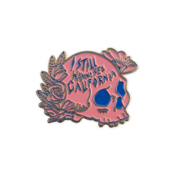 Pink and blue skull as a soft enamel pin