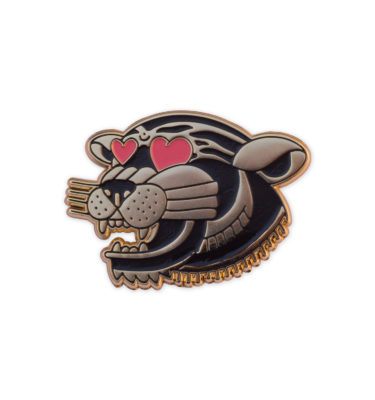 Tiger with heart eyes as a hard enamel pin