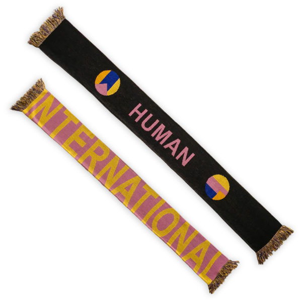 Colorful football scarf with yellow on pink international human letters